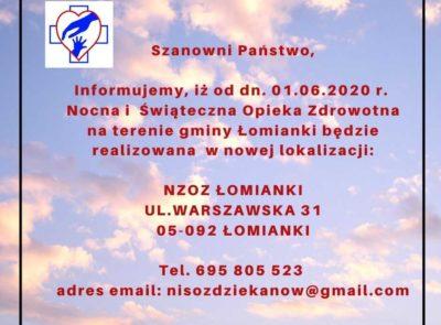 Nocna i Świąteczna Opieka Zdrowotna na terenie gminy Łomianki – zmiana lokalizacji