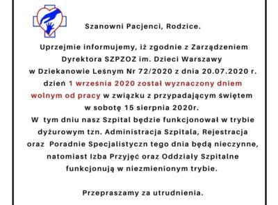 Informacja – zmiana organizacji pracy w Szpitalu w dniu 01.09.2020 r.