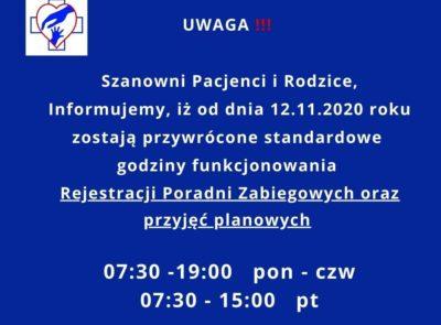 Informacja – przywrócenie standardowych godzin pracy Rejestracji Poradni Zabiegowych oraz przyjęć planowych